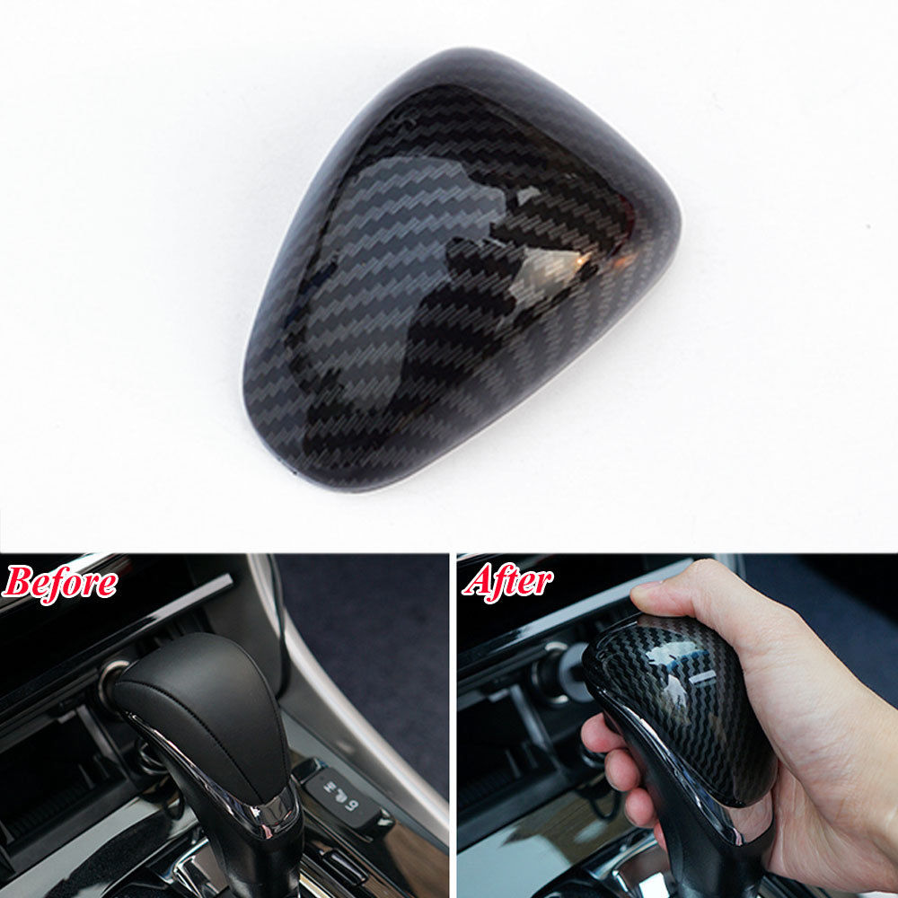 ABS Carbon Fiber Interior Gear Shift Lever Knob Trim Fit For 2014 2015 <font><b>2016</b></font> 2017 <font><b>Honda</b></font> <font><b>Accord</b></font> 9th 9.5th <font><b>Accessories</b></font> Car Styling image