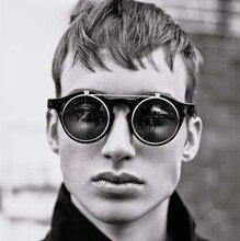 Fashion Vintage Round Retro SteamPunk Style Sunglasses Classic Double Layer Clamshell Design Sun Glasses Oculos De Sol Feminino