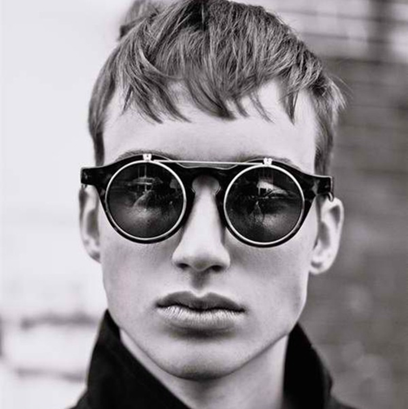 JackJad 2018 Fashion Vintage Round SteamPunk Flip Up Solglasögon Classic Double Layer Clamshell Design Sun Glasses Oculos De Sol