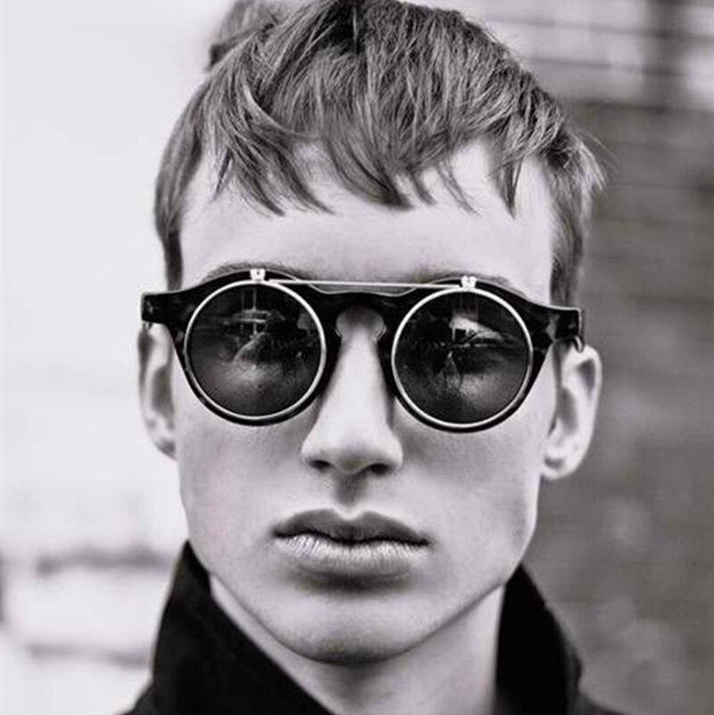 JackJad 2018 Fashion Vintage Round SteamPunk Flip Up Sunglasses Classic Double Layer Clamshell Design Sun Glasses Oculos De Sol