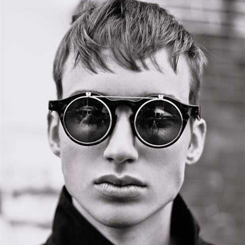 JackJad Мода 2018 г. винтаж круглый стимпанк флип солнцезащитные очки для женщин