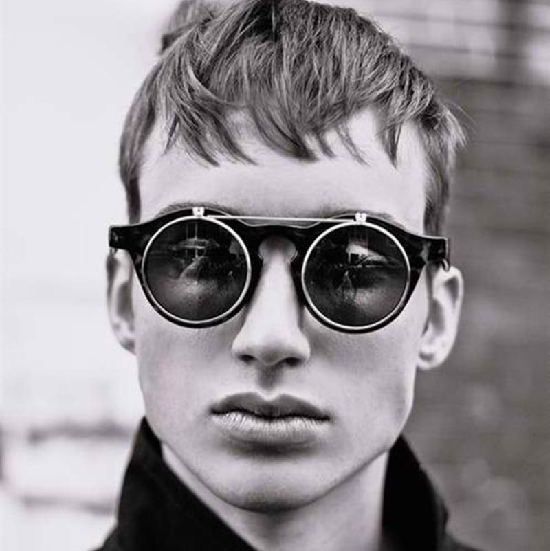 JackJad 2018 mode Vintage rond SteamPunk Flip Up lunettes De soleil classique Double couche à clapet Design lunettes De soleil Oculos De Sol