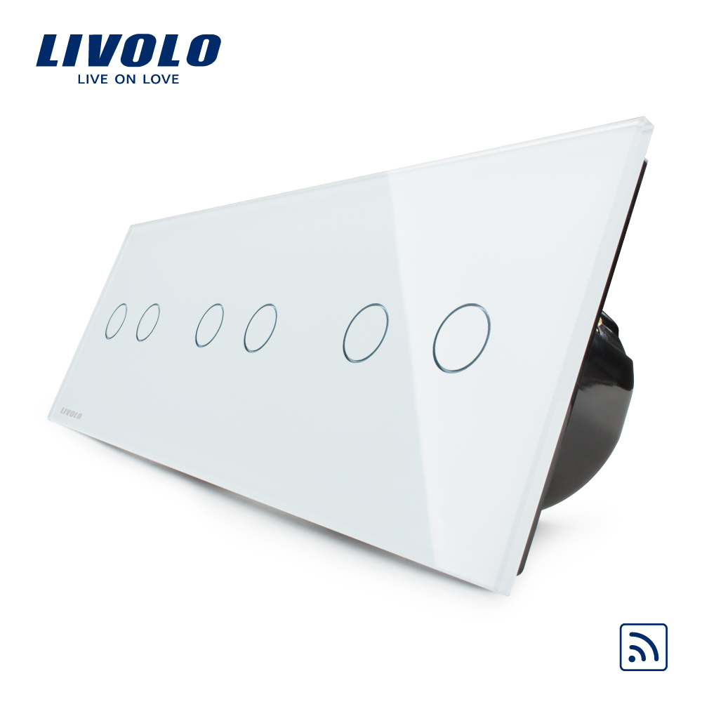 Livolo EU Standard, Wireless Switch, Luxury Wall Triple Touch & Remote Switch, VL-C706R-11,With White Crystal Glass Panel livolo eu standard luxury crystal glass panel smart switch remote