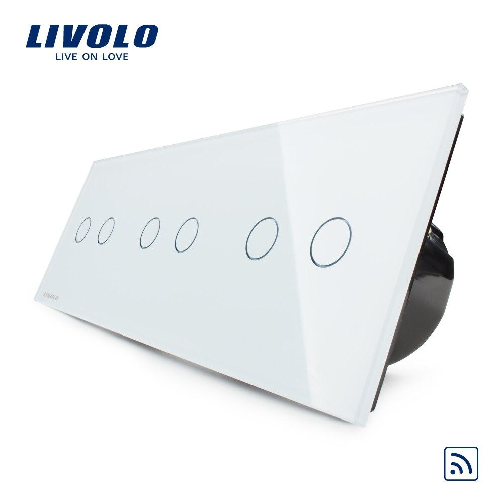 Norme Livolo EU, interrupteur sans fil, interrupteur Triple tactile et à distance mural de luxe, VL-C706R-11, avec panneau en verre cristal blanc