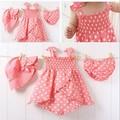 2016 НОВЫЙ девочка одежда набор лето 3 шт. мода набор розовый цвет горошек новорожденных бак платье + шляпа + трусики костюм