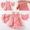 2016 NUEVA niña de la ropa de verano 3 unids conjunto rosa de la moda vestido del tanque de lunares de color recién nacido + hat + bragas traje