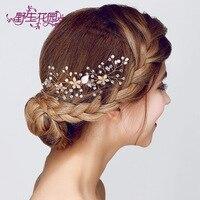 Đám cưới hàn quốc tiara handmade tóc comb tóc pin bán buôn rhinestone lê tóc chải bridal phụ kiện