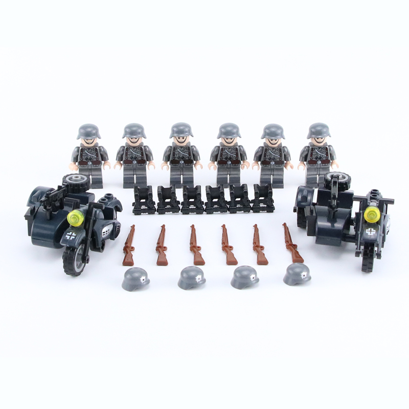 NEW WW2 Military Army Soldier Figures Building Blocks German Motorcycle Weapon Vest Helmet Accessories Bricks Toys For Children