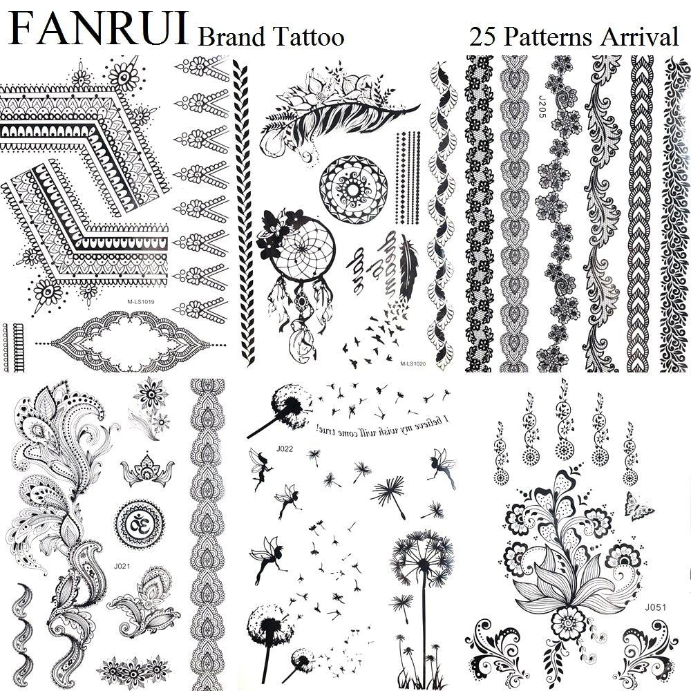 Black Henna Mandala Temporary Tattoo Stickers Girl Body Arm Art Flash Tattoo Feather Dandelion Fake Tatoos Dream Catcher Branch