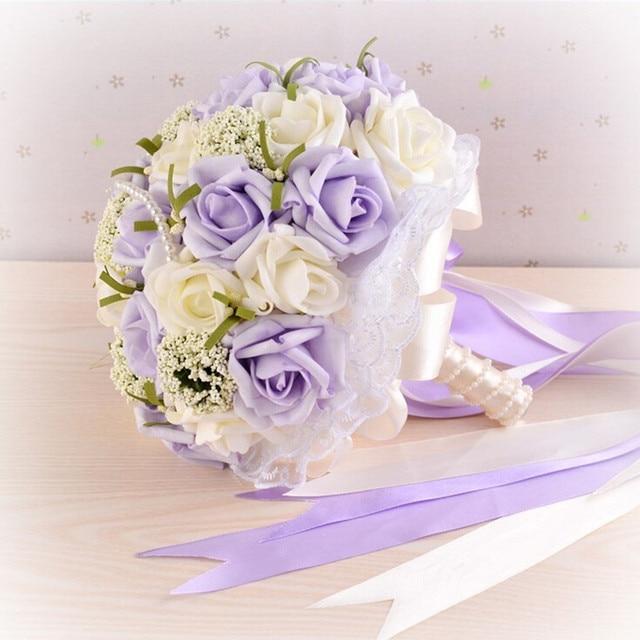 Beautiful Purple Wedding Bouquet All Handmade Bridal Flower Wedding Bouquets Artificial Pearls Flower Rose Bouquet