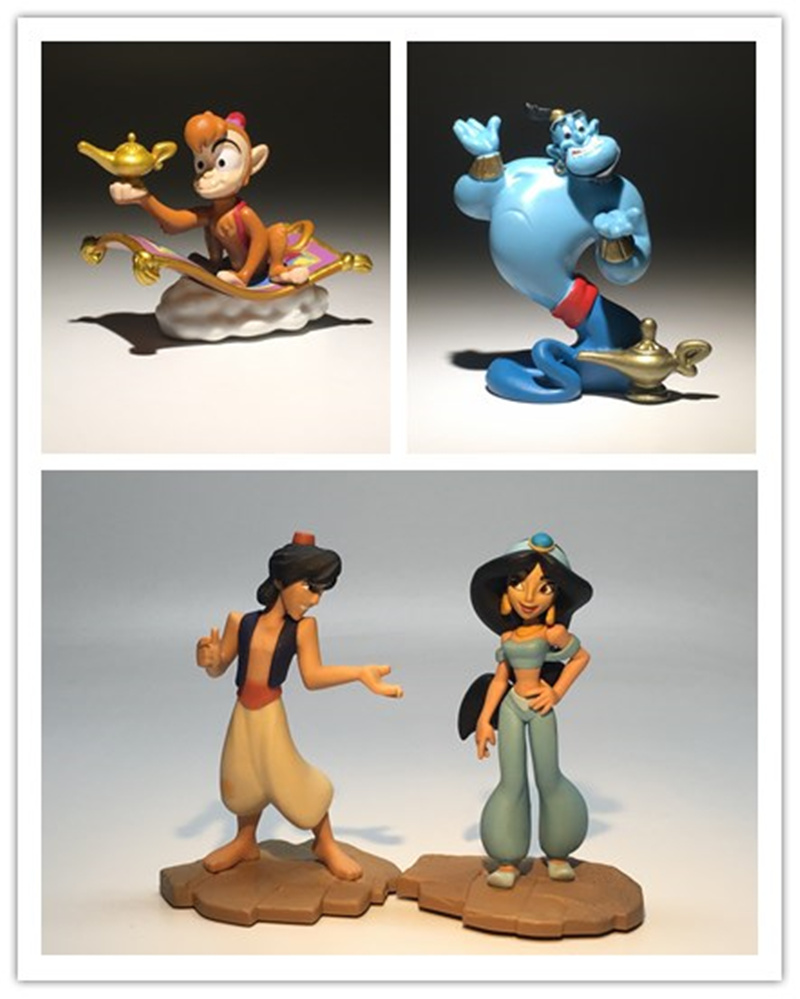 4pcs/lot 6-9cm Aladdin and the Magic Lamp figure toys Aladdin Jasmine Princess Candle God Arabian Nights Flying Carpet toys