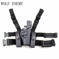 Tactical Glock Leg Holster Right Thigh Paddle Belt Level Pistol Gun Holster W/ Magazine Torch Pouch for Glock 17 19 22 23 31