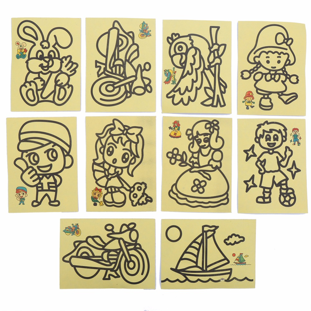 CCINEE 10 PCs 9X11CM Children Kids Drawing Toys Sand Painting Pictures Kid DIY Crafts Education Toy Pattern Random