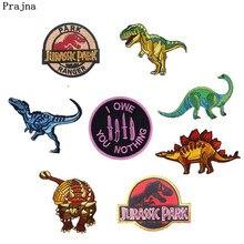 0502e4747 Prajna Jurásico remiendos dinosaurio de dibujos animados parche bordado  pegatinas en la ropa DIY Badges inteligente