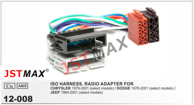 jstmax iso radio adapter for chrysler / dodge / for jeep radio stereo wire  cable wiring harness connector lead loom plug