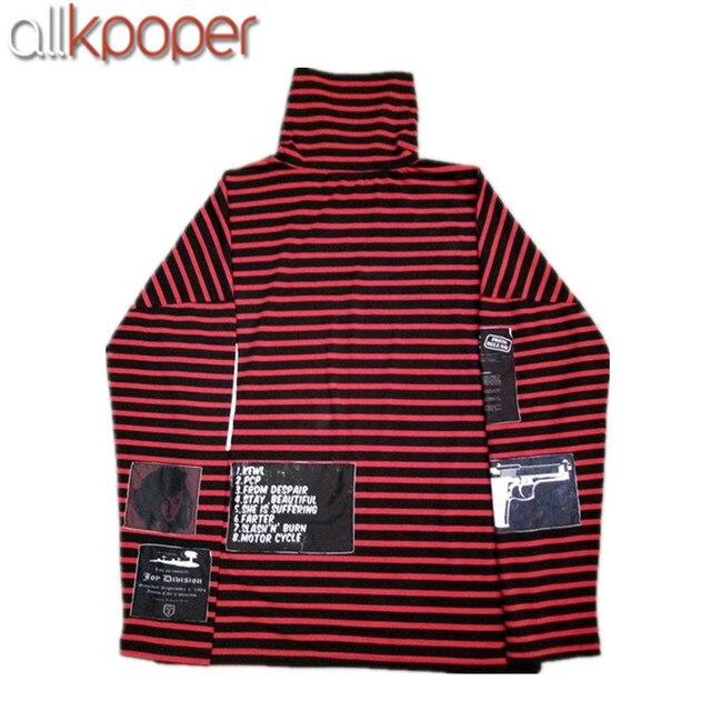 ALLKPOPER Kpop SUGA Sweatershirt Bigbang GD G-Dragon Sweatershirts Pullover Striped Hoodie Jumper Gift( Suga Necklace)
