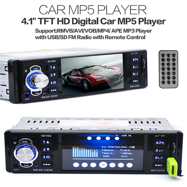 "Novo 12 V Carro MP5 MP4 Player Apoio Câmera de Visão Traseira 4.1 ""TFT HD Digital Stereo Rádios FM MP3 MP4 Áudio E Vídeo USB SD In-Dash"