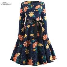 cc238a7301d MISSJOY 2018 New Vintage Kerst jurk Printed Dress Women Belt Long sleeve  Autumn winter Party Black kerst kleding dames robe noel