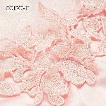 COLROVIE Without Panties Crochet Lace Applique Slips Night Dress Summer Spaghetti Strap Women Sleepwear New Sexy Nightgown 5