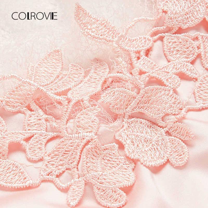 COLROVIE без трусики аппликация из кружева, связанного крючком слипы Ночное платье, летнее платье на тонких бретельках с ремешком Для женщин ночное белье сексуальная ночная рубашка