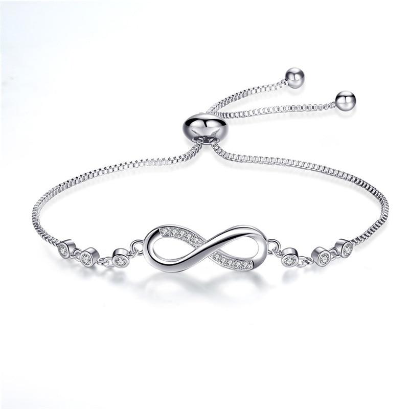 New Fashion Elegant Charm Bracelet 8 Shape Geometric Bracelet Infinite Love  925 Siver Female Bracelet Bangles