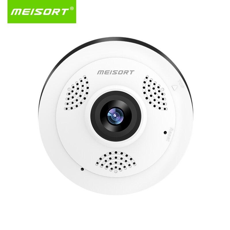 Meisort Fisheye panorâmica de 360 graus mini câmera ip de rede sem fio wi-fi câmera de vídeo HD movimento alerta de segurança cctv camera