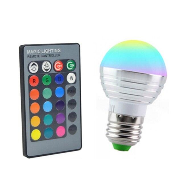 nieuwe dimbare e27 led lamp 16 kleuren veranderen 3 w 110 v 220 v magic rgb