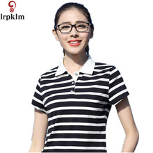 2017 Women Polo Shirt Striped Short Sleeves Collar Ladies Casual M-XXXL Camisets Mujer Summer Tops Style Marca Senhora YY640