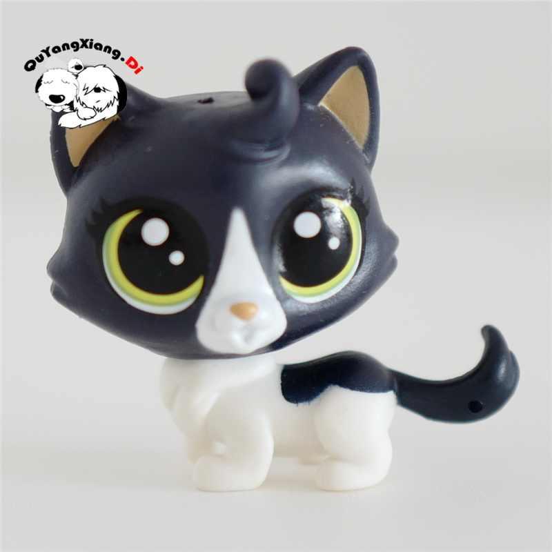 CWM073 Pet Shop Animais gatinho Preto e branco Figura de ação boneca