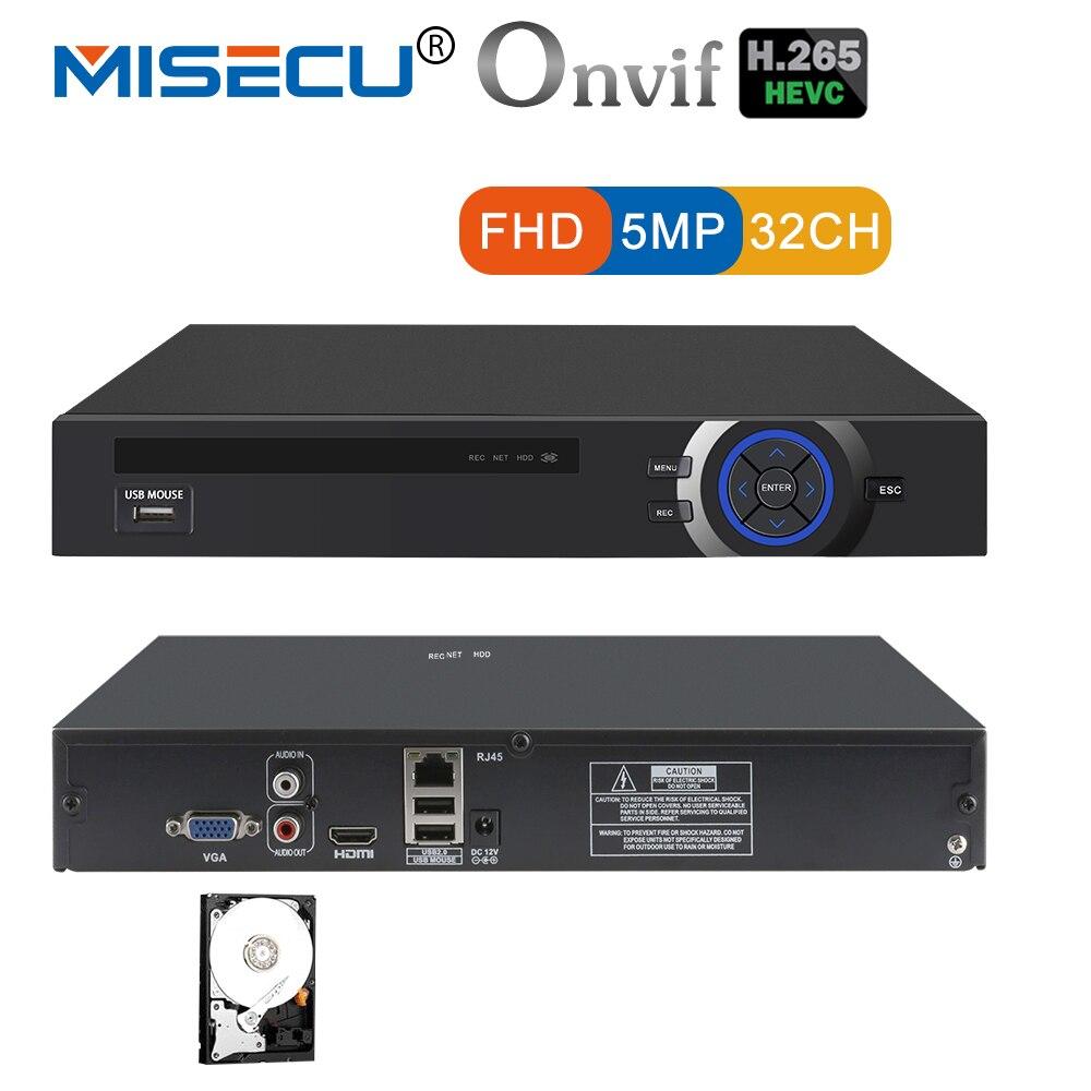 MISECU 25CH 5MP 32CH 1080 P 8CH 4 К CCTV H.265 NVR видеорегистратор сетевой Регистраторы Onvif 2,0 для IP камера 2 SATA XMEYE P2P облако