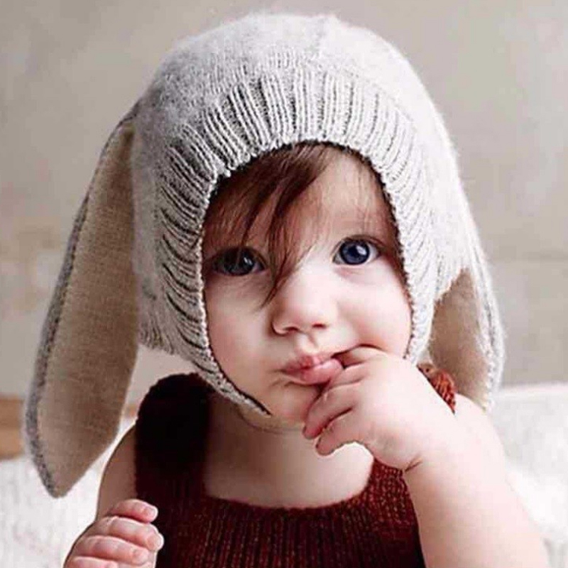 Rabbit Ear Newborn Hat Childrens Soft Warm Infants And Young Children 0-2 Years Old Lovely Knit Wool Woolen Bunny Beanie Hats