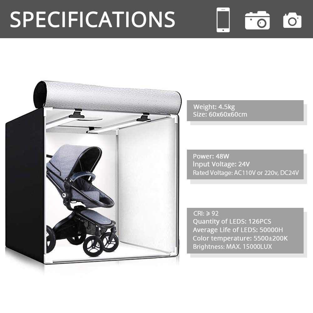 Spash M60II 60*60 Cm Photo Studio Light Box Softbox Foto Doos 48W CRI92 Lightbox Tent Voor Sieraden speelgoed Schoenen Product Fotografie - 2