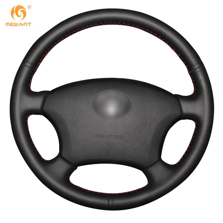 MEWANT Black Genuine Leather Car Steering Wheel Cover for Toyota Land Cruiser Prado 120 Land Cruiser 2003-2007 Tacoma 2005-2011 подкрылок novline autofamily для toyota land cruiser prado 01 2003 2009 задний левый