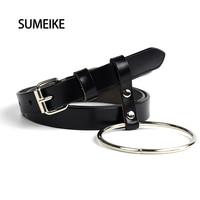 SUMEIKE Round Metal Circle Designer Belts For Women Genuine Leather