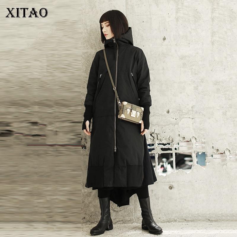 xitao Zll2447 Femmes Pleine Manches Casual Solide Split Black Cintrée Mode Hiver Nouvelles Manteau Couleur De Corée Épais Large Long Parka 2018 gXqrgxfwH