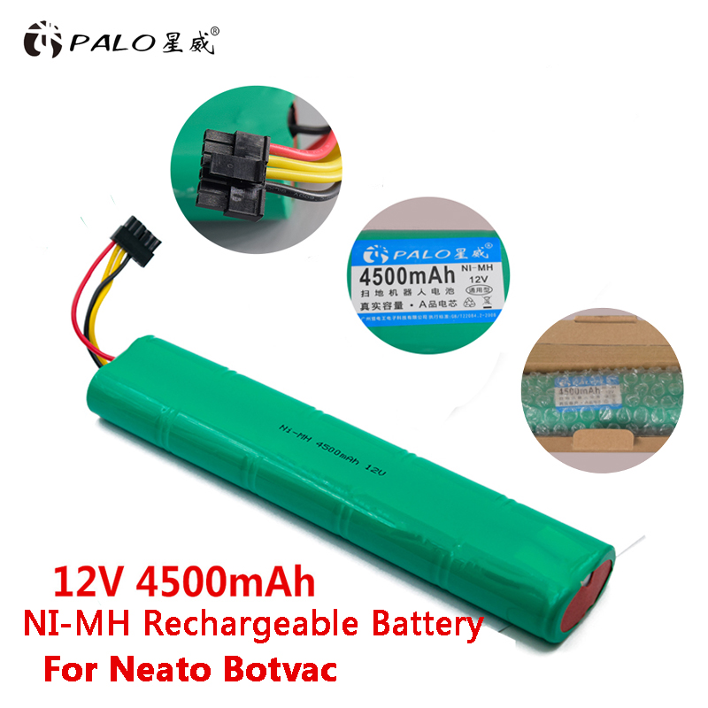 PALO 12V Ni-MH 4500mAh Vacuum Cleaner Robot Battery Replacement Rechargeable Battery For Neato Botvac 70e 75 D75 80 85 D85 D80