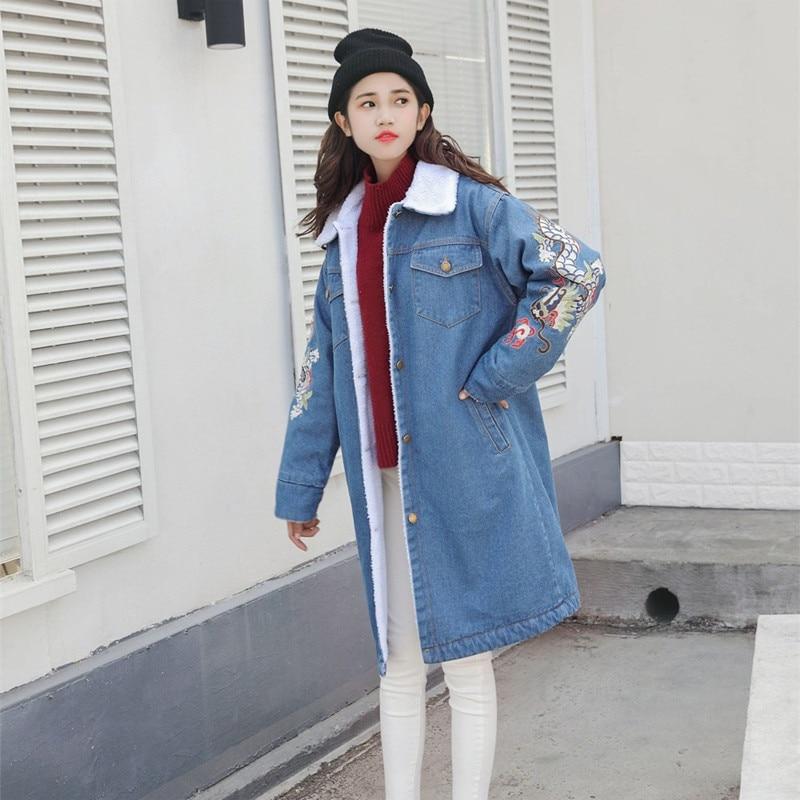 Externe Manteau Veste Femmes Nouvelles 2018 Et Chaud Cowboy Coton Agneau Slim Longue Automne De D'hiver Broderie Blue Épais Tq104 wxIqarO0I