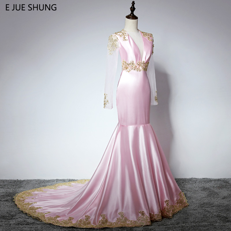 E JUE SHUNG Pink Gold Lace Appliques Mermaid Evening Dresses Long 2018 Deep V-neck Long Sleeves Backless Sexy Evening Gowns
