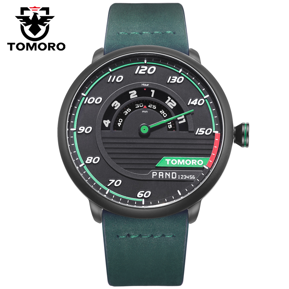 TOMORO Men's Unique Racing Car 3D Design Cow Leather Strap Luxury Fashion Sports Black Quartz Wrist Watch 2017 Brand New TMR1017