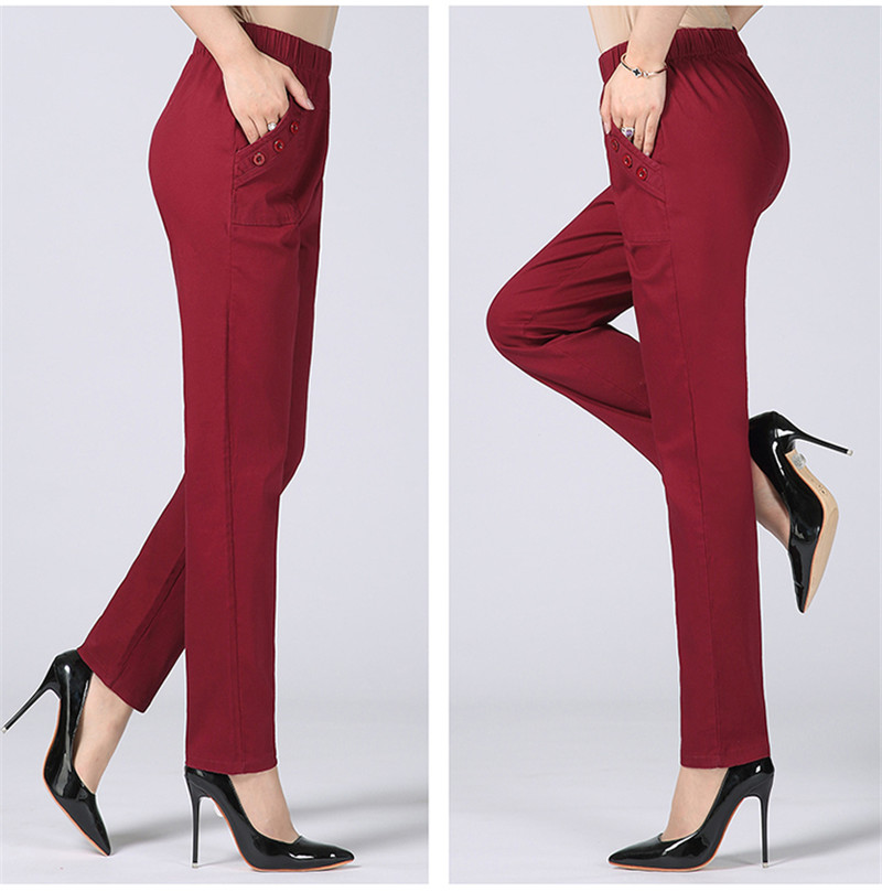 HTB1rHc3kh9YBuNjy0Ffq6xIsVXa0 - Plus Size 5XL High Waist Stretch Long Pants Women Cotton Straight Trousers Women Pantalon Femme Work Office Ladies Pants C4315
