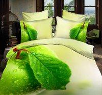 Ropa de cama de inicio verde hoja de impresión del aceite 3D juego de cama de lino conjunto de diamantes caballo panda leopardo duvet cover set hoja de cama ropa de cama