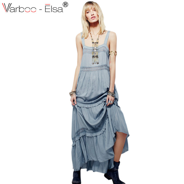 867520d6621795 VARBOO ELSA Boho stijl lange jurk vrouwen Off schouder strand zomer jurk  Sexy backless maxi jurken wit