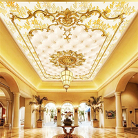 Beibehang Custom 3d Wallpaper Luxurious Gold European Style Soft Bag Lobby Restaurant Ceiling Ceiling Mural Background