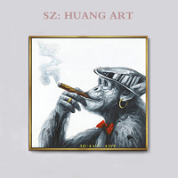 Hand painted oil painting decorative animal modern chimps monkey painting to hang the sitting room is the gorilla in smoking dri