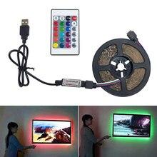 цена на USB LED Strip 2.5M DC 12V RGB Flexible Light Lamp SMD 2835 24 key Remote Control Waterproof Ribbon Color Changing Tape Lights