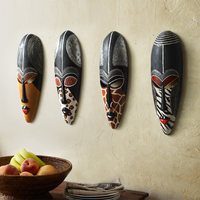 4PCS/SET Retro Resin Exotic African Masks Portraits Hanging Wall Mural Wall Hanging Ornaments Home Accessories Best Gift R208