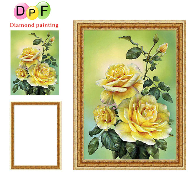 85b6863904 DPF Framed Diamond Embroidery round Diamond Painting Diamond Cross Stitch  Rhinestone flowers home Decoration