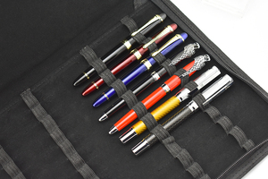 Image 4 - Качественная авторучка/Ручка роллер сумка пенал для 48 ручек черный кожаный держатель для ручек/мешочек