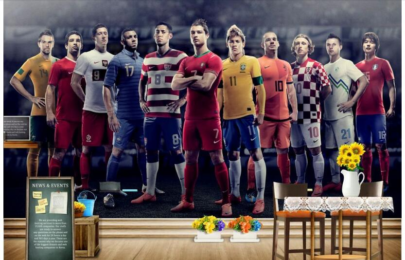 3d wallpaper custom photo non-woven picture wall sticker Soccer star posters painting 3d wall room murals wallpaper 100pcs pack photo frame photo wall hangs a picture clasps solid wall nail contact non trace nail hooks