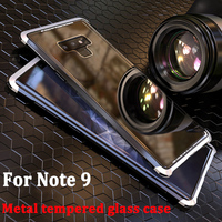 2PCS For Samsung galaxy Note 9 case Metal Tempered Glass Plastic Back Cover For Samsung Note9 shell Aluminum Transparent cases